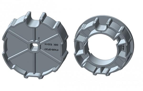 Nutrohr mit Flach-/Rundnut für mechanische Rohrmotore